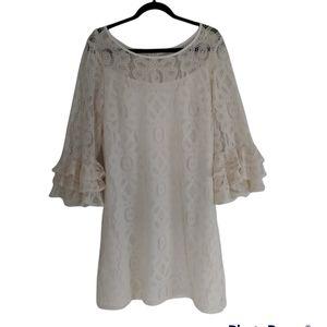 Karin Stevens cream white lace midi dress size 10